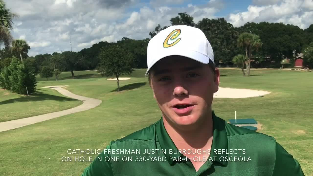 Pensacola Catholic freshman golfer gets hole in one on a 330-yard par-4 hole to win District 1-1A Tournament