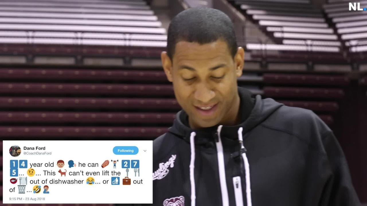 Missouri State basketball players try to decipher emoji tweets by Coach Dana Ford.