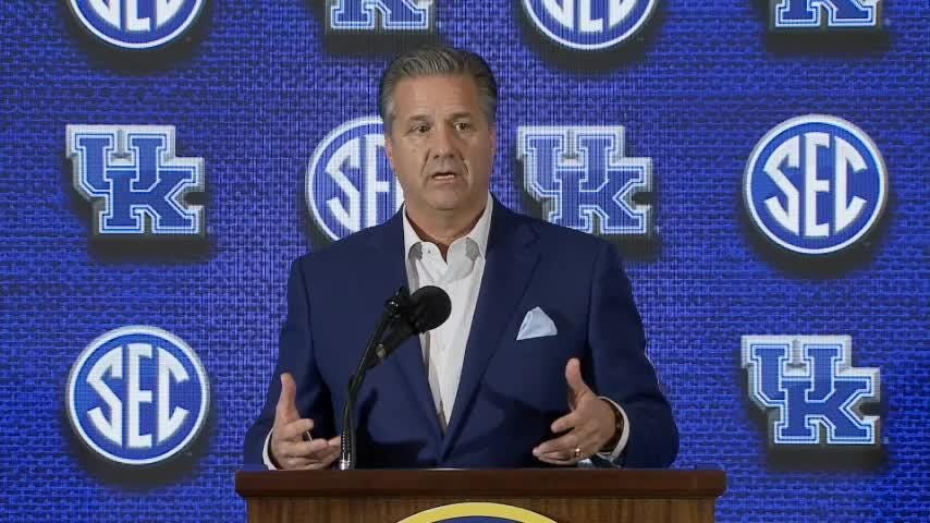 Kentucky's basketball coach talked with reporters on day one of the Southeastern Conference media days.