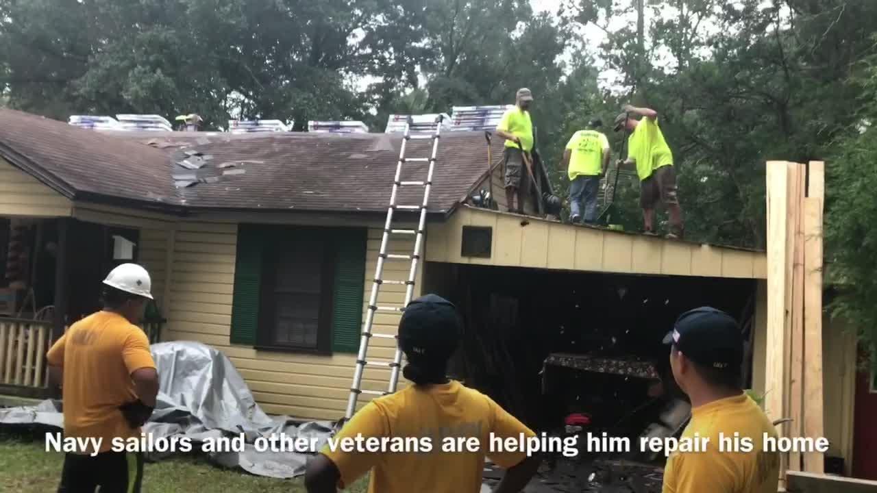 Watch: Volunteers help repair Pensacola veteran's home