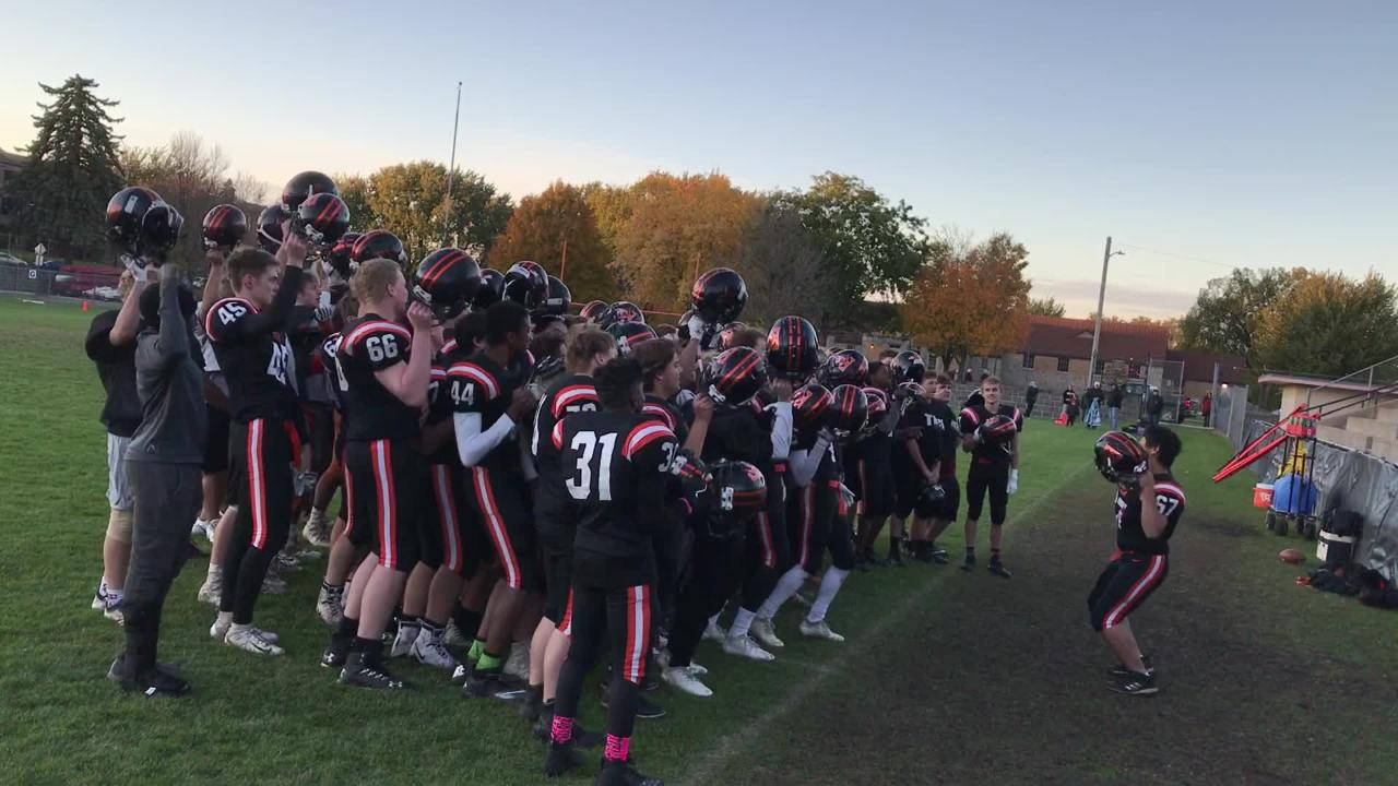 The St. Cloud Tech football team sings the school alma mater after its junior varsity victory at Clark Field.