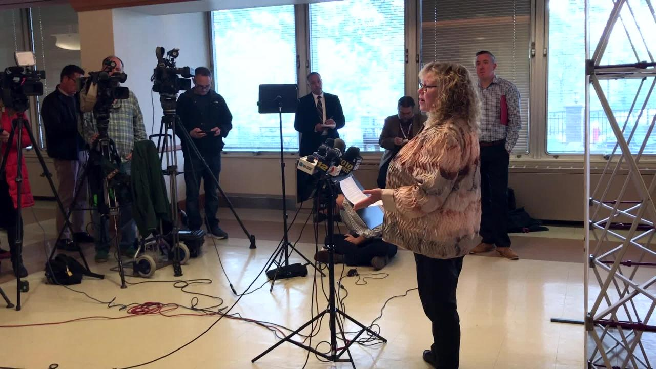 Rockland County Commissioner of Health, Dr. Patricia Schnabel Ruppert, gives an update on the measles outbreak in Rockland County Wednesday, Oct. 17, 2018