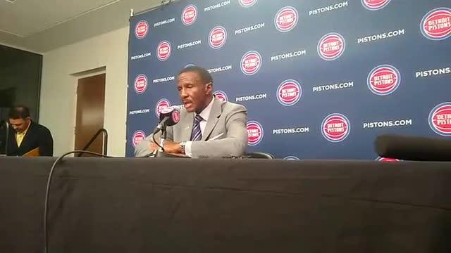 Detroit Pistons coach Dwane Casey speaks to the media on Wednesday, Oct. 17, 2018, at Little Caesars Arena.