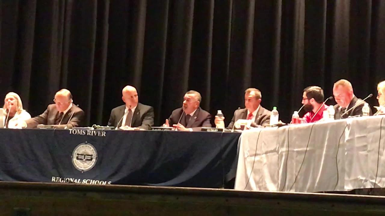 Toms River Regional school board President Russell K. Corby and Vice President Joe Nardini urge the public to help the board fight state aid cuts.