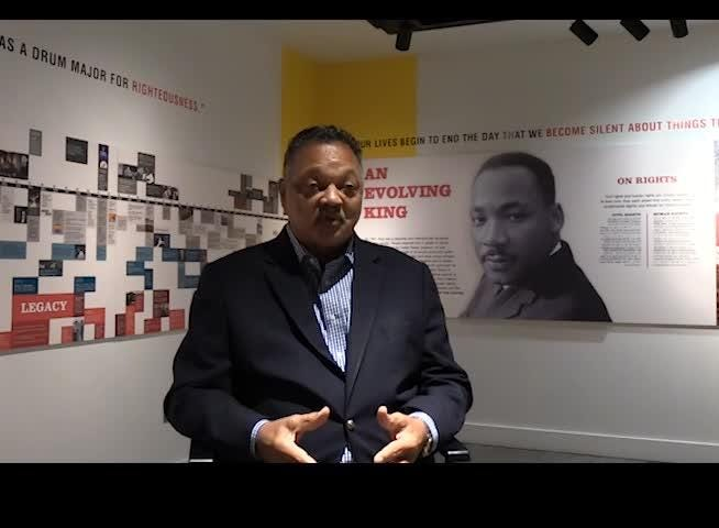 """Civil rights leader and Freedom Award winner Jesse Jackson talks to Commercial Appeal reporter Desiree Stennett on Oct. 16, 2018 about the """"unfinished business of America."""""""