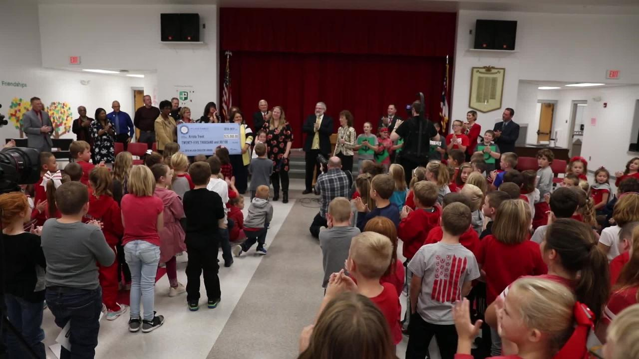 Thornville Elementary School students react to teacher Krista Trent being awarded the Milken Educator Award.