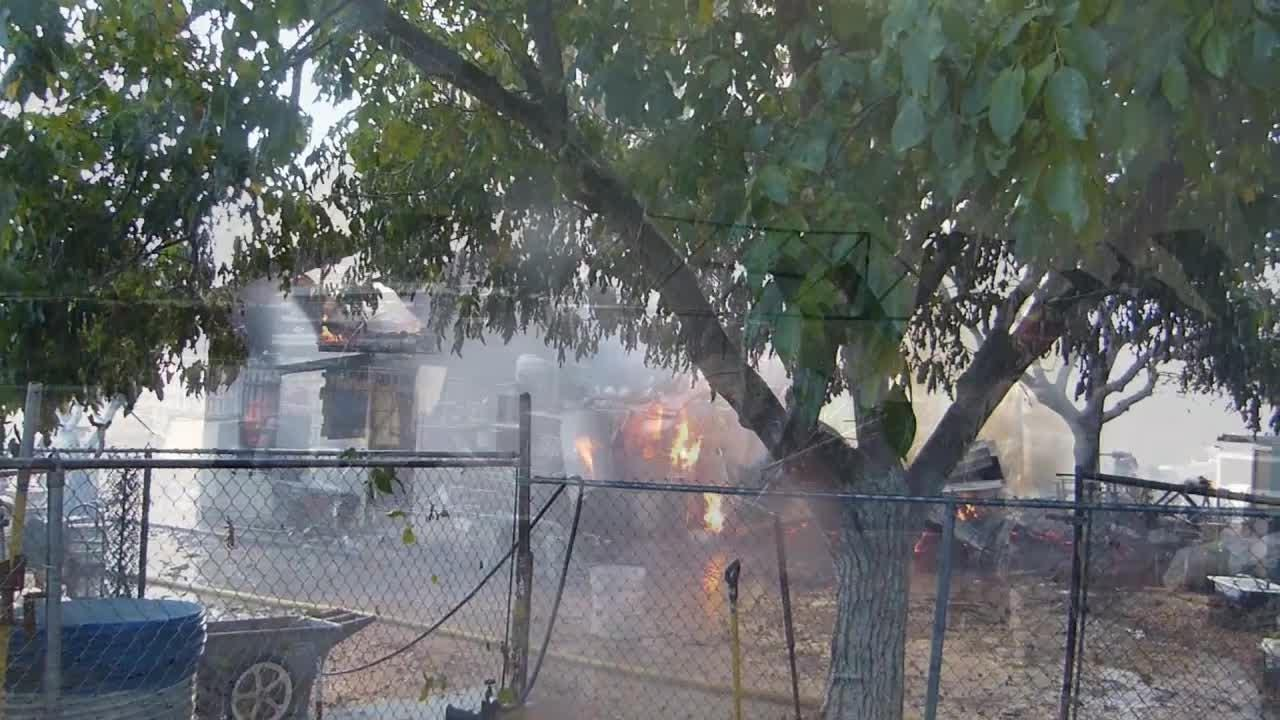 A fire destroyed a construction business shop in Anderson.