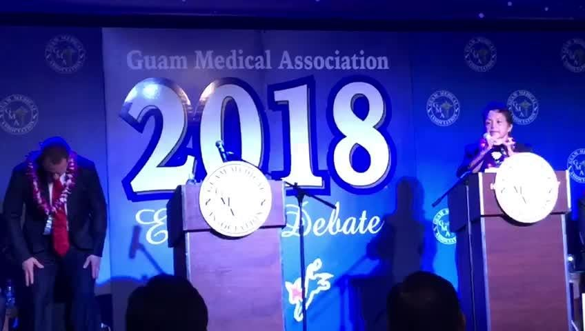 Lt. Gov. Ray Tenorio asks Bank of Guam President Lou Leon Guerrero about her stance on Pro-Life at the gubernatorial forum hosted by the Guam Medical Association Thursday night. Leon Guerrero asked Tenorio why Guam Memorial Hospital lost accreditation.