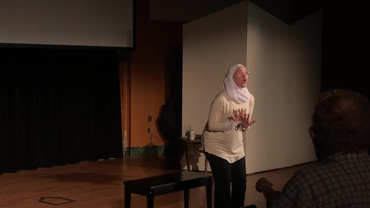 "Abou Rashed performs poetry solo ""A Map of Myself"" at Denison about her identity and her experiences as a Syrian refugee and now college student."