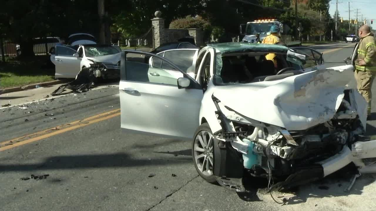 One person was injured Friday in a three-car crash at the intersection of Lancaster Ave. and DuPont Rd.