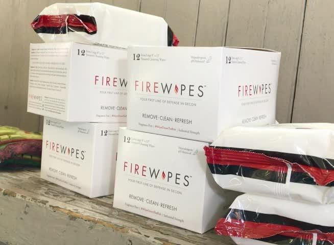 Chris Mowry, a firefighter at York Area United Fire and Rescue, presented boxes of wipes on behalf of the Carney Strong Initiative.