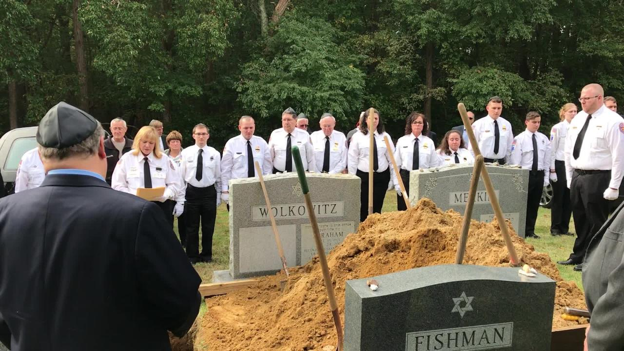 Members of the Freehold First Aid and Rescue Squad honored longtime member Jerry Wolkowitz at his funeral Friday.