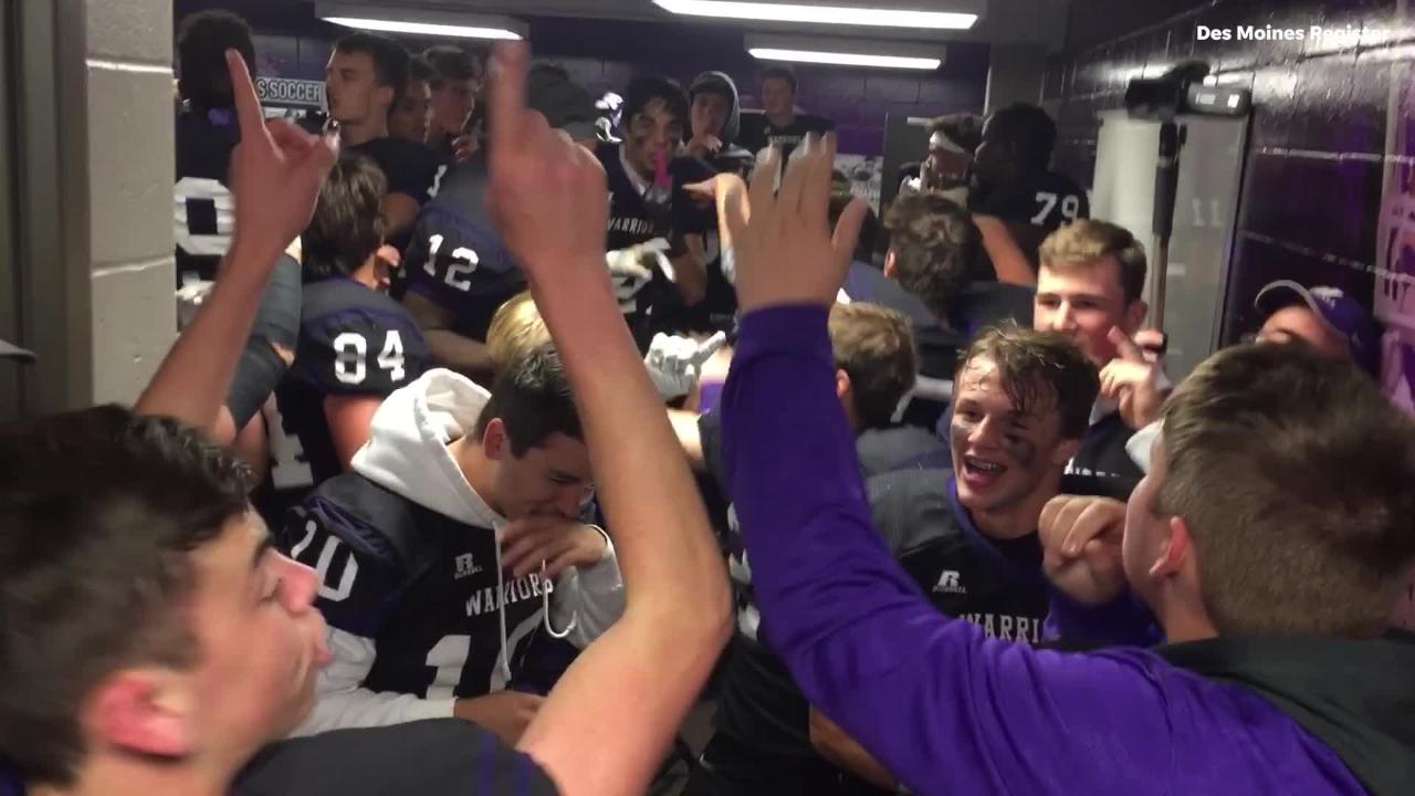 Go in the locker room with Waukee as they celebrate their last minute win over Johnston.