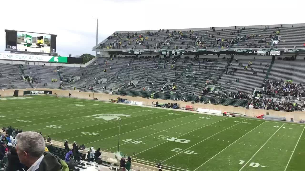 Weather delayed the Oct. 20 Michigan State-University of Michigan football game at Spartan Stadium.  Lightning spotted in the area caused the delay.