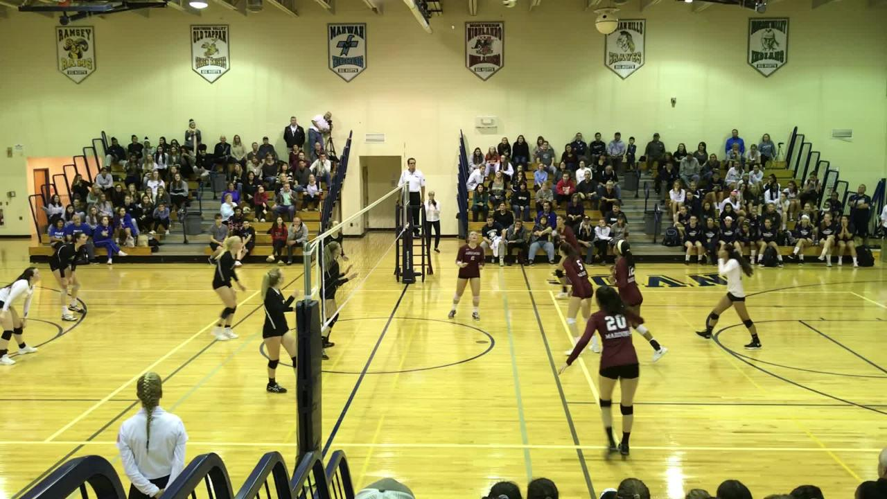 Ridgewood closes out a 23-25, 25-22, 25-19 upset of River Dell in the Bergen County girls volleyball quarterfinals on Saturday, Oct. 20, 2018.