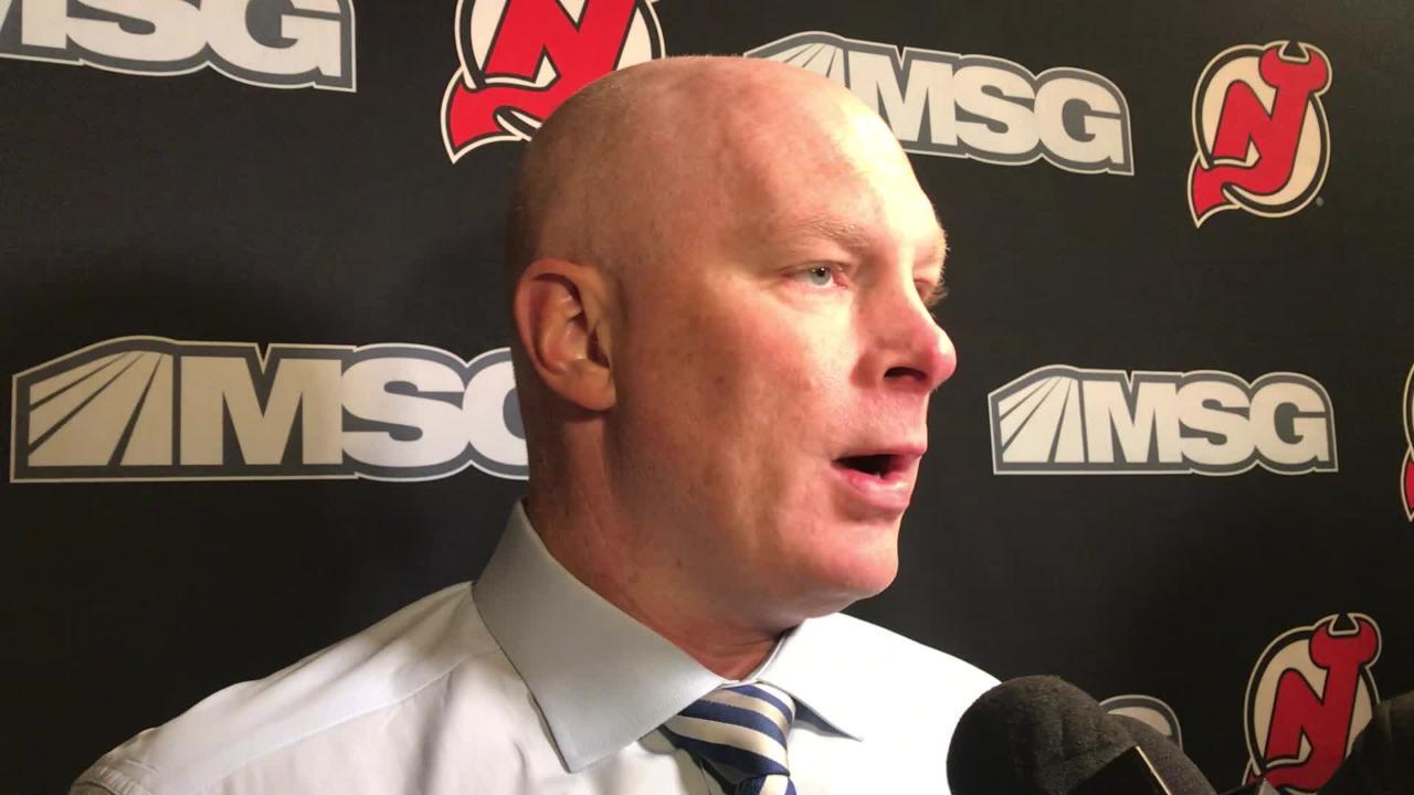 WATCH: NJ Devils' coach John Hynes after loss to Flyers