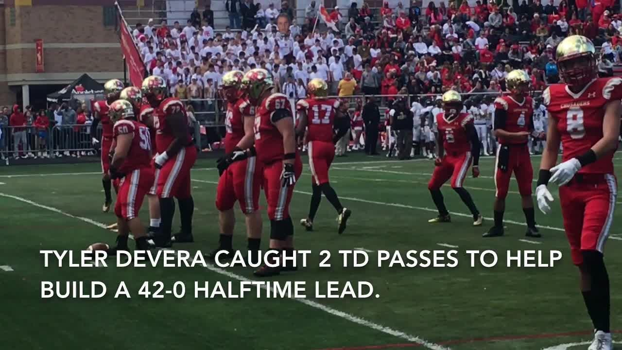 Bergen Catholic football scores all its points in the first half of a 42-0 win over Paramus Catholic.