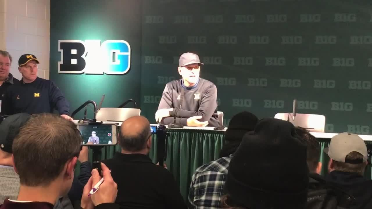 Michigan coach Jim Harbaugh calls Michigan State 'bush league' over pregame scuffle, following Wolverines' 21-7 win Oct. 20, 2018 in East Lansing.