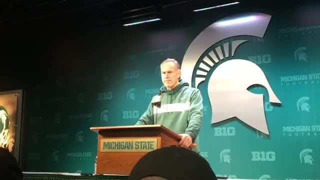 Michigan State coach Mark Dantonio speaks to the media after the 21-7 loss to Michigan on Saturday, Oct. 20, 2018, in East Lansing.