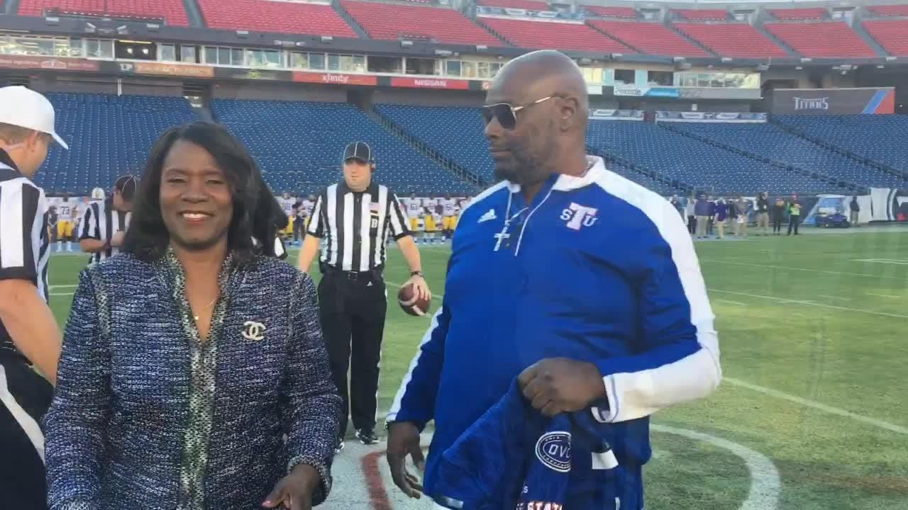 The uncle, Kevin Richardson, and aunt, Shawn Neason, of injured TSU player Christion Abercombie participated in the coin toss for Saturday's game.