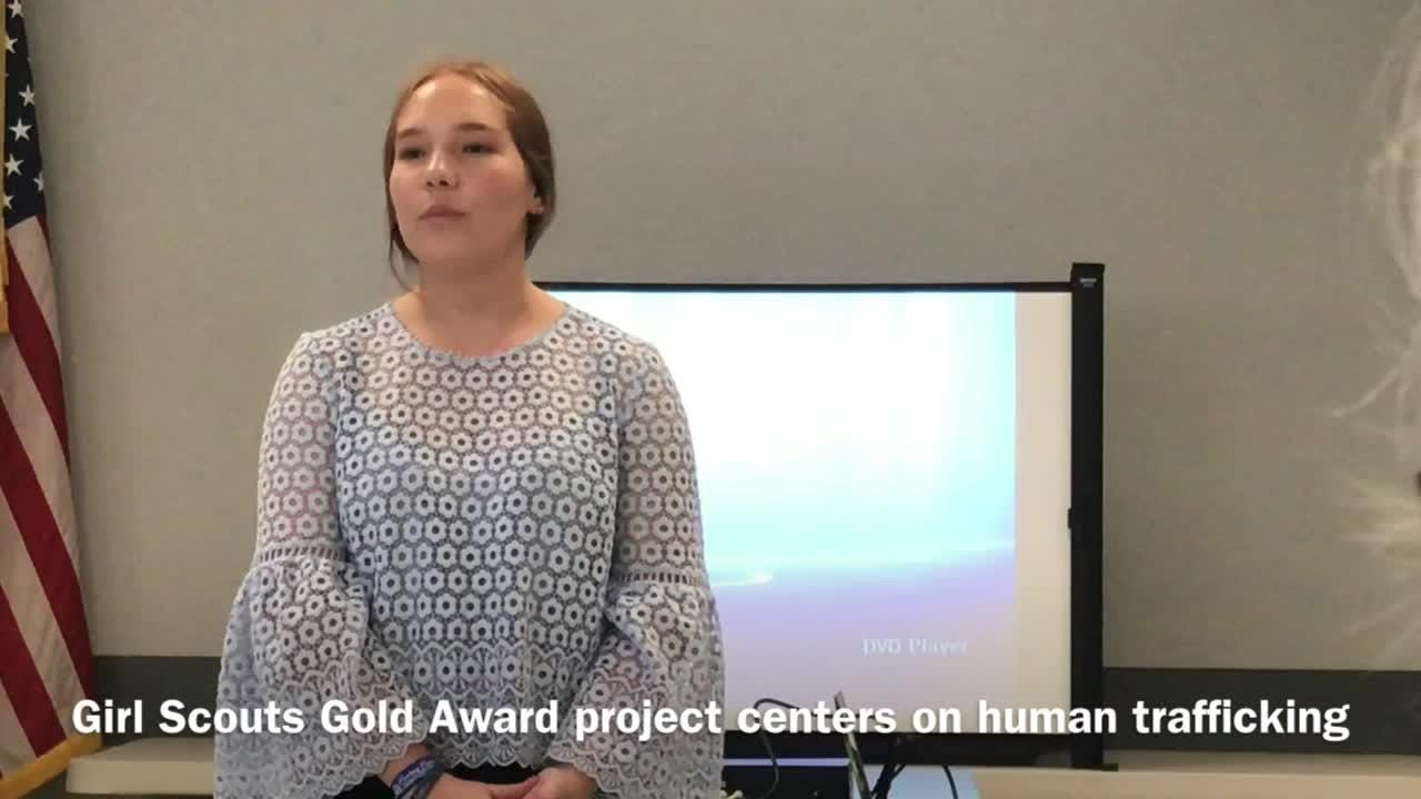 Grace Rose, 17, talks about human trafficking,  the subject of her Girl Scout Gold Award project.