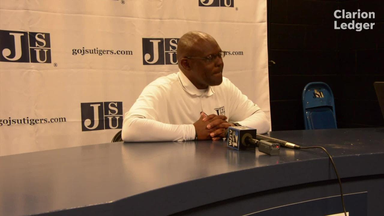 Jackson State head coach Tony Hughes answer media questions Saturday, October 20, 2018 after a 24-7 home loss to North Alabama.