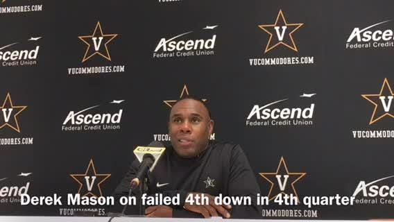 Vanderbilt coach Derek Mason bristled at some of the questions about a play call on a failed fourth-down attempt in a 14-7 loss to No. 17 Kentucky.