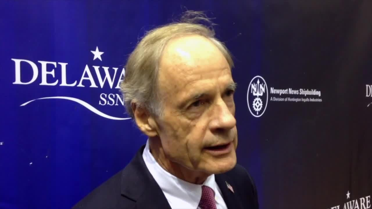 Sen. Tom Carper, speaking at the christening of the USS Delaware attack submarine, said the naming honored generations of military from the First State.