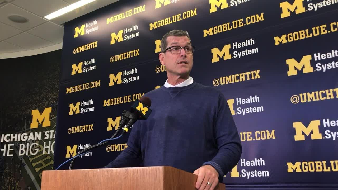 Michigan football coach Jim Harbaugh ripped into Michigan State and Mark Dantonio during his bye week news conference on Monday in Ann Arbor.