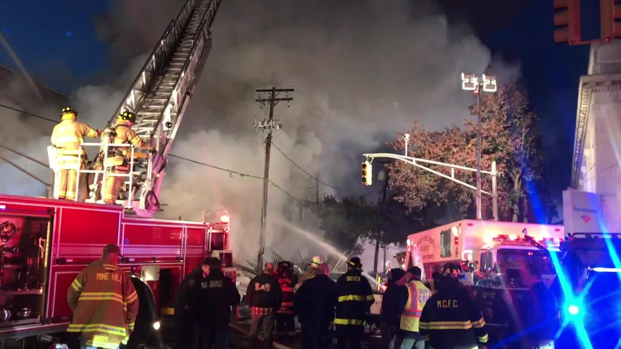 Raw video from the scene of a seven-alarm fire in Dover, NJ on Monday, Oct. 22, 2018.