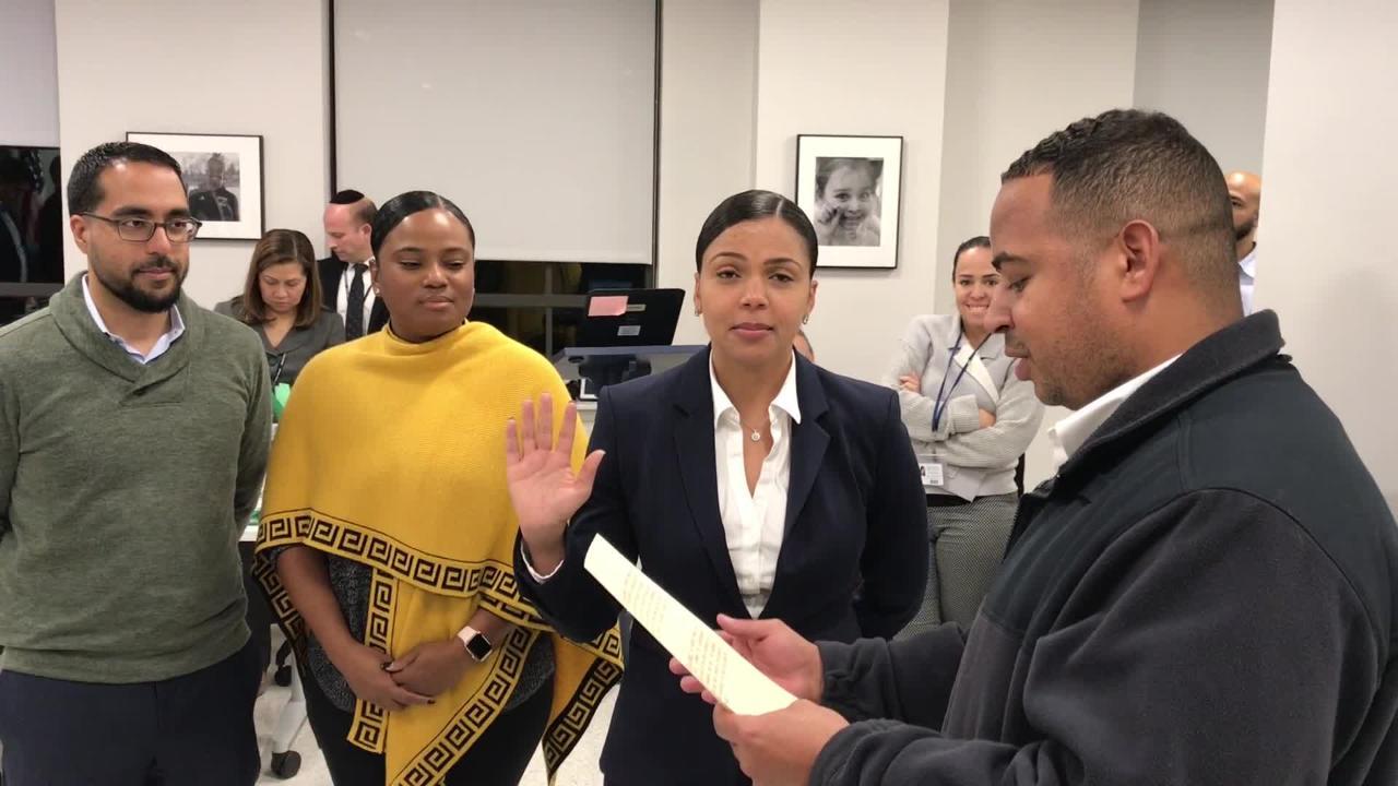 Judith Sanchez is sworn as city of Passaic school trustee filling seat vacated by Salim Patel.