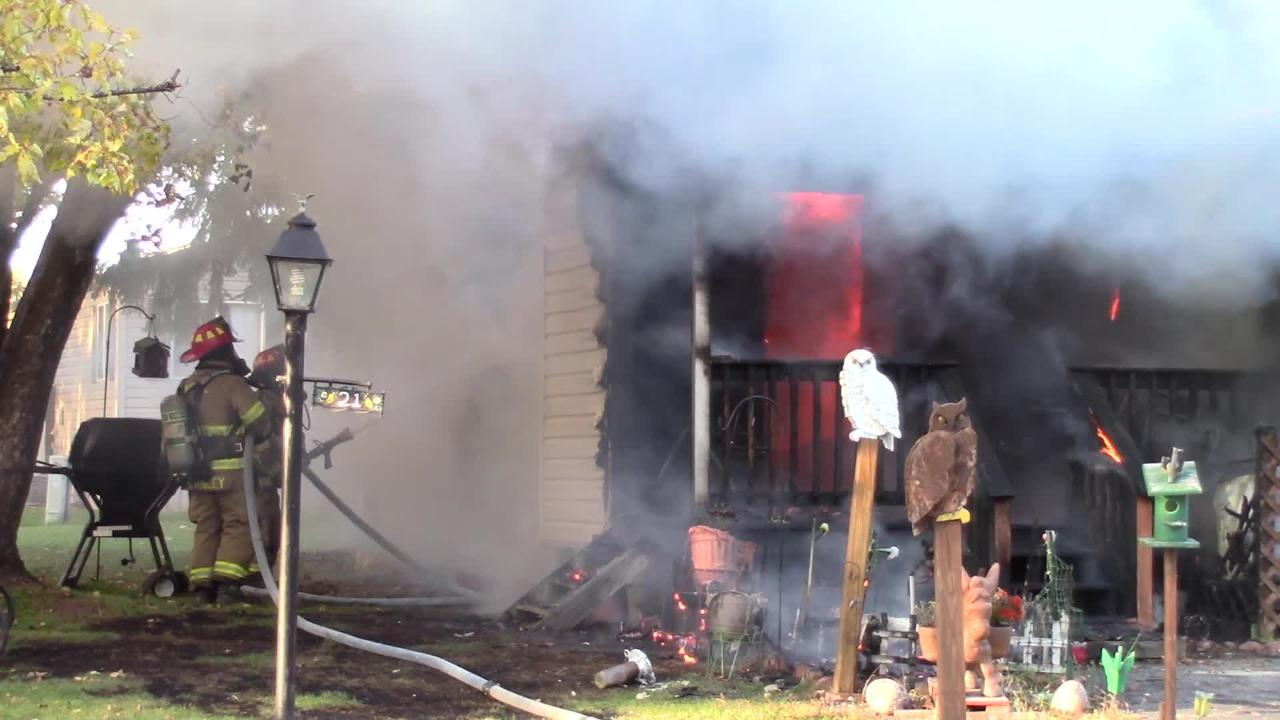 Fire fighters from numerous area fire departments battled an afternoon trailer fire at 21 Gaslight Drive in North Fond du Lac.