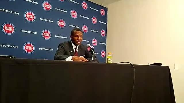 Detroit Pistons coach Dwane Casey talks to the media after a thrilling victory over Philadelphia 76ers in overtime, 133-132.