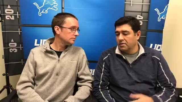 Free Press sports writers Dave Birkett and Carlos Monarrez discuss the Detroit Lions' trade for Damon Harrison on Wednesday, Oct. 24, 2018, in Allen Park.