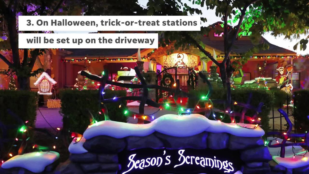 Christmas Halloween.Nightmare Before Christmas Inspires Huge Halloween Display