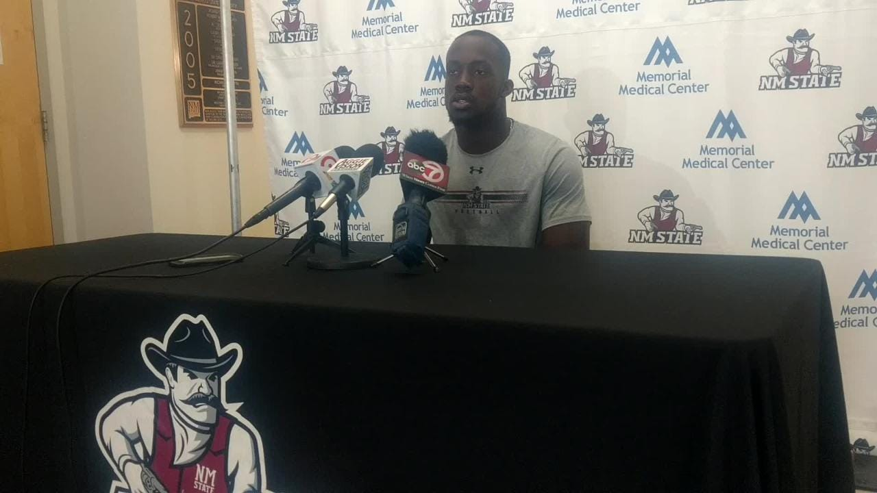 NM State running back Christian Gibson talks about Saturday's game at Texas State