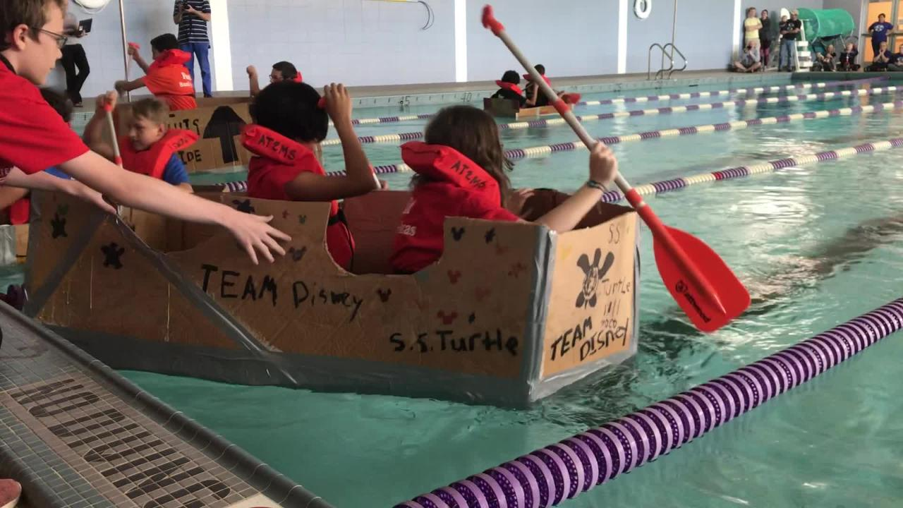 Teams from Abilene ISD's four middle schools compete in the ATEMS High School Cardboard Boat Invitational Saturday, Oct. 27, 2018.