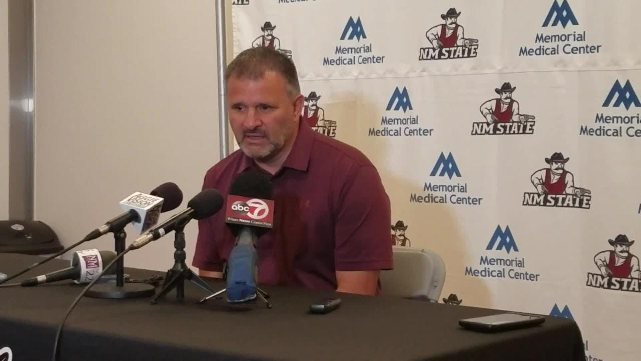 New Mexico State basketball coach Chris Jans talked about the upcoming season on Monday morning.