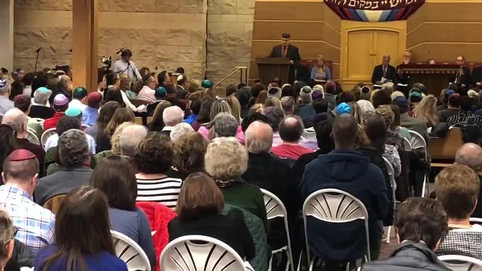 Imam Saffet A. Catovic, the Muslim chaplain at Drew University, Madison, offers a prayer during the Oct. 30 Interfaith Vigil in Solidarity with the Jewish Community of Pittsburgh conducted at Temple Beth-El in Hillsborough.