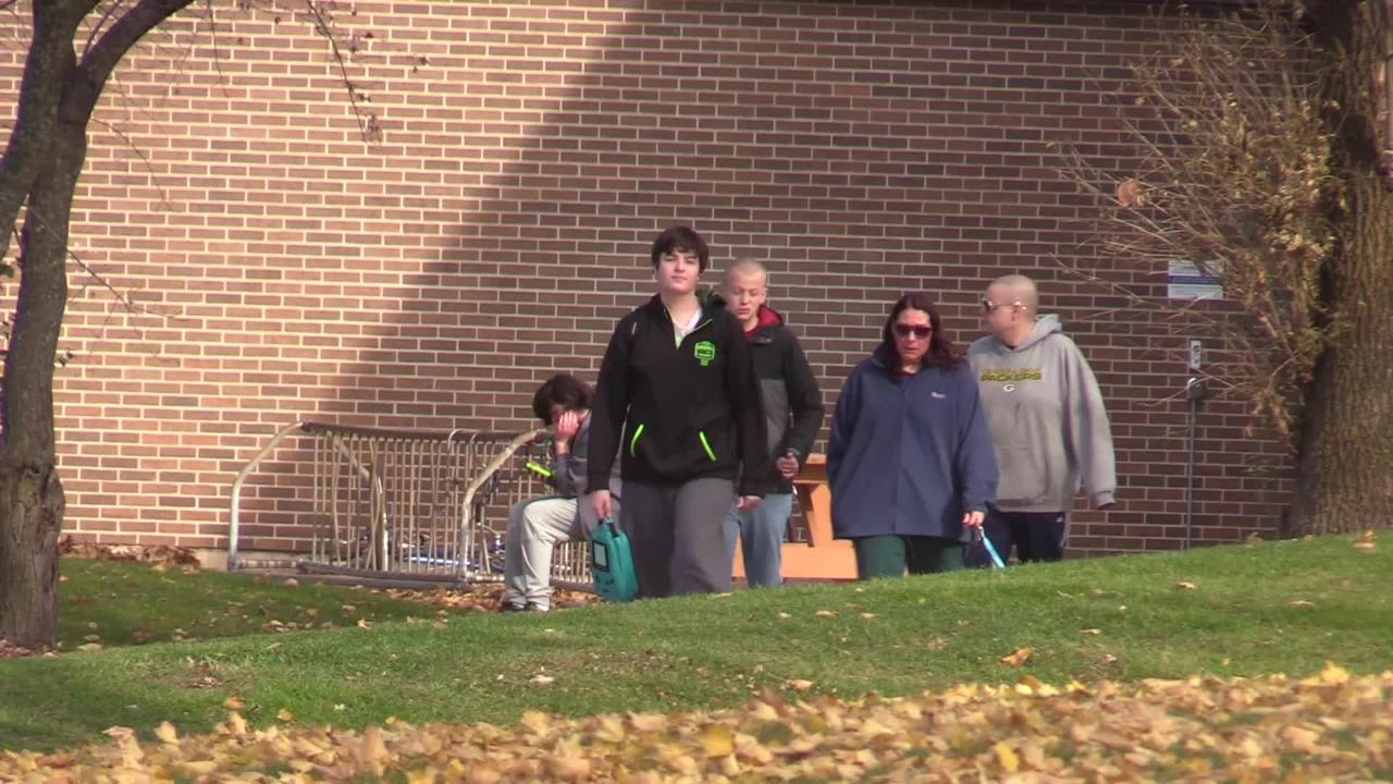 Oshkosh Area School Superintendent Vickie Cartwright talks about safety after a lockdown Thursday, Nov. 1, 2018, at Oshkosh North High School.