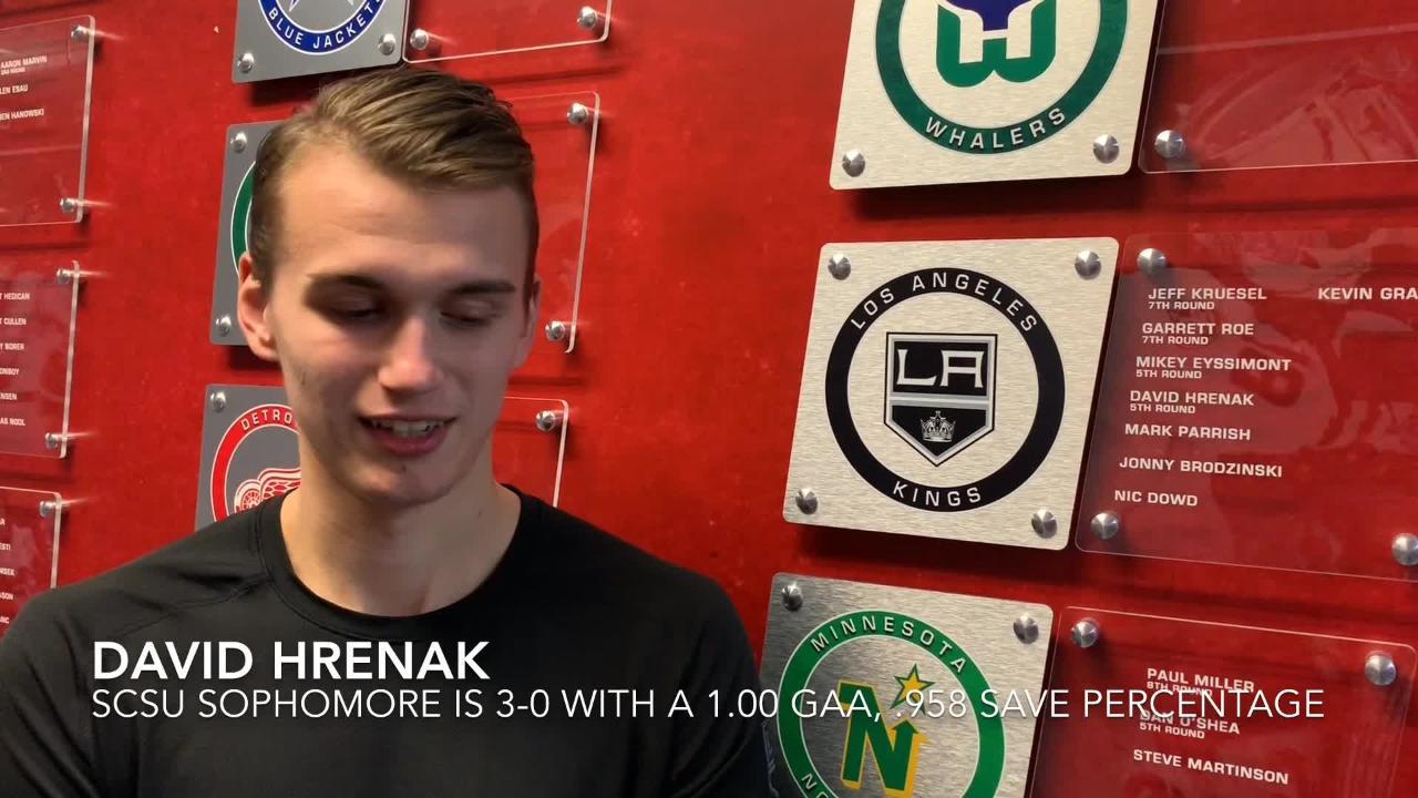 SCSU goalie David Hrenak talks about his fast start, Huskies defending NCHC Penrose Cup