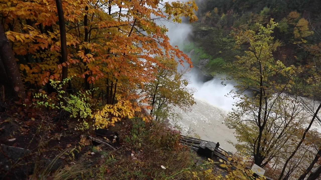 A peek at fall around Upper Falls in Letchworth State Park.