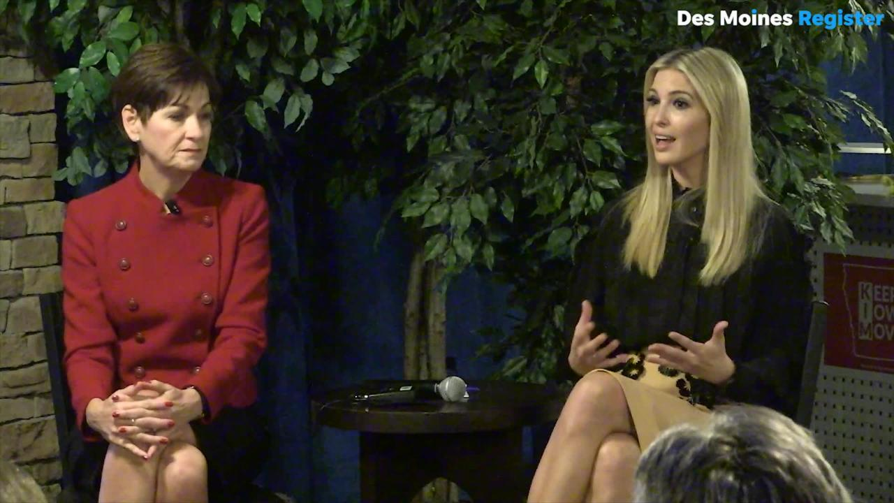 Ivanka Trump campaigns with Gov. Reynolds before the midterms. She was asked what accomplishments she was proud of in the last few years.