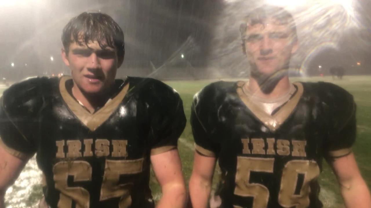 York Catholic twin brothers Jarred Kohl (65) and Harris Kohl (59) love the rain