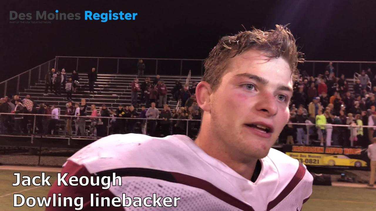 Dowling linebacker Jack Keough talks about the Maroons' performance after a 31-9 win over West Des Moines Valley in the Class 4A state quarterfinals on Friday night.