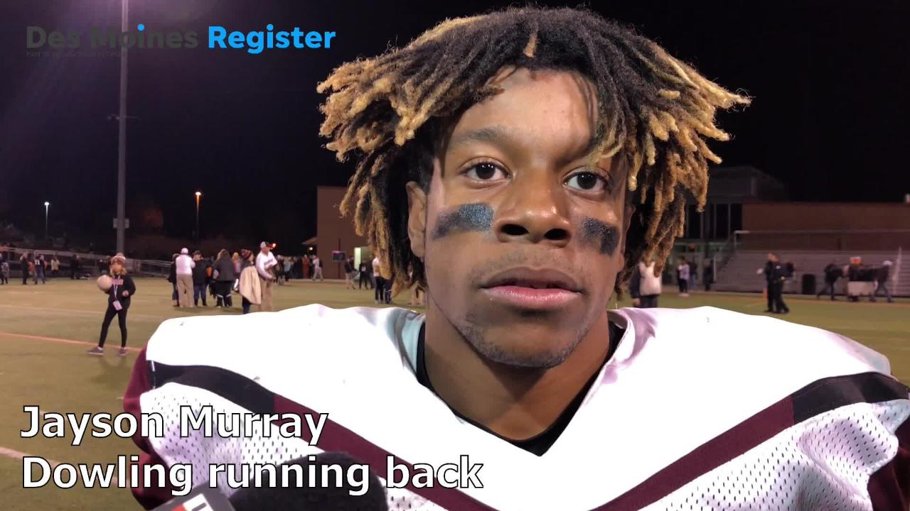 Dowling running back Jayson Murray scored three rushing touchdowns in a 31-9 win over West Des Moines Valley in the Class 4A state quarterfinals on Friday night.