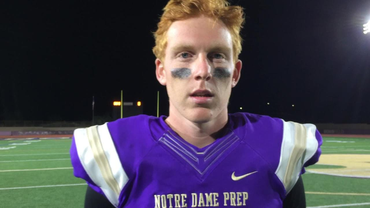 Notre Dame's Jake Farrell after beating Gilbert in the first round of the playoffs