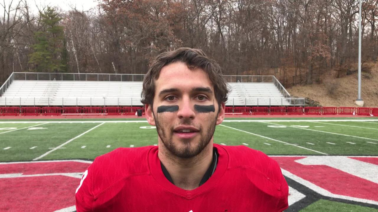 Tight end Tommy Auger answers questions about St. John's 51-0 win over Hamline, enabling the Johnnies to win the MIAC title outright.