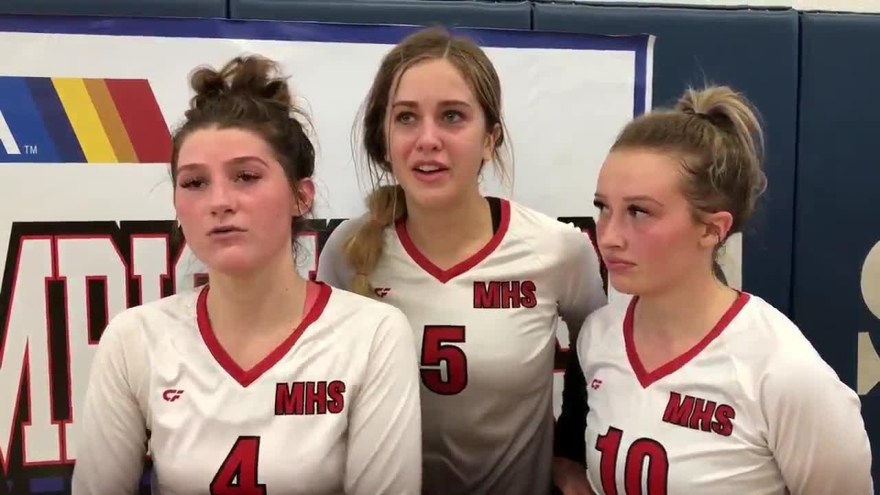 After Mogollon's 1A state championship win, senior Lauren Hancock (left), junior Jillie Maner (center) and senior Makenzie Willis react.