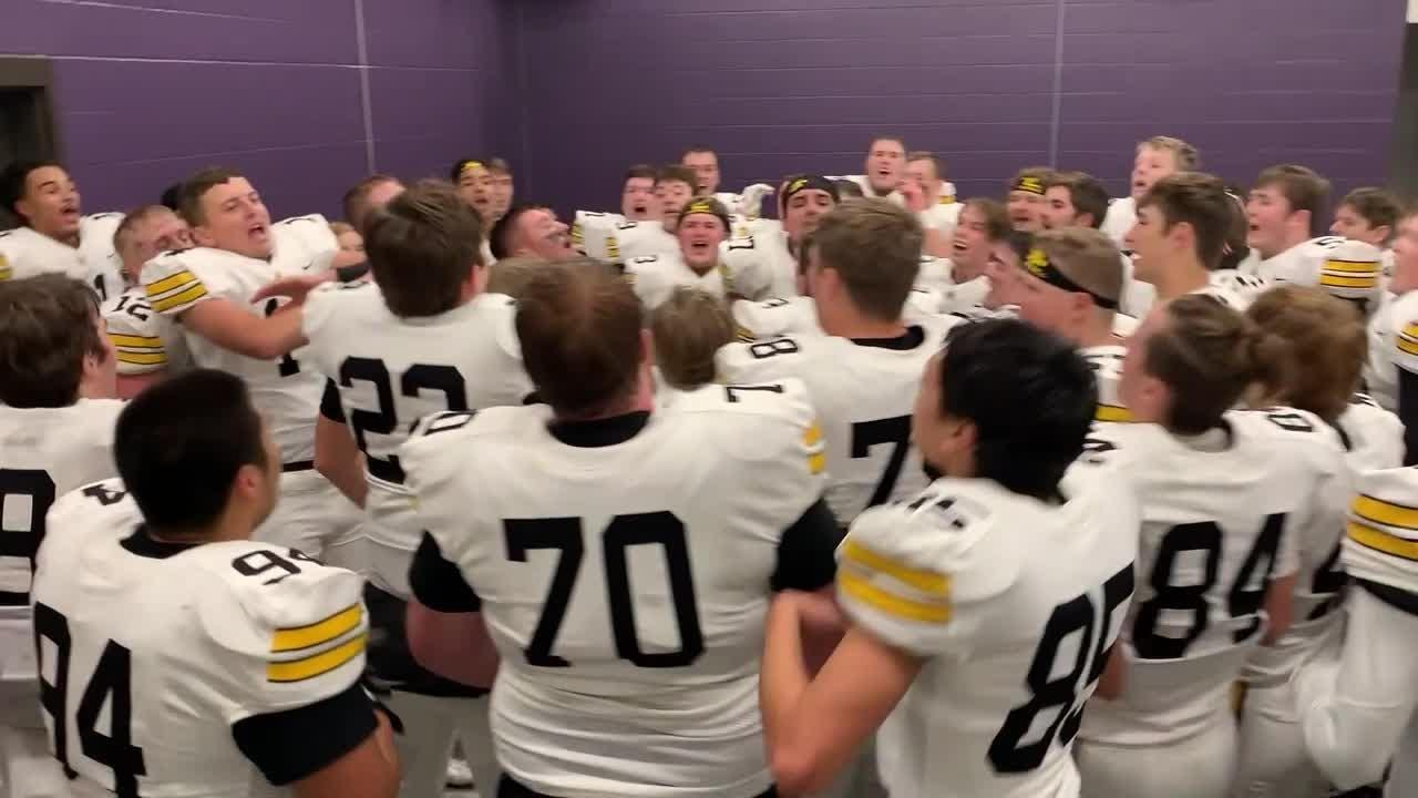 The Rams celebrate after dominating a state quarterfinal match-up against No. 8 Johnston, 21-7.